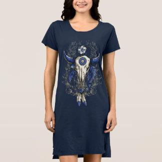 Native American BULL SKULL blue Dress
