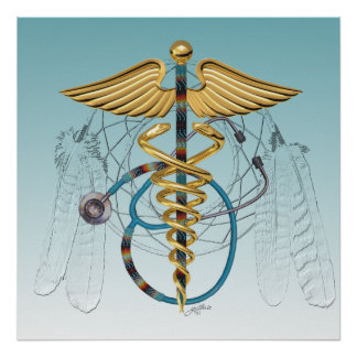 Native American Caduceus and Stethoscope Poster