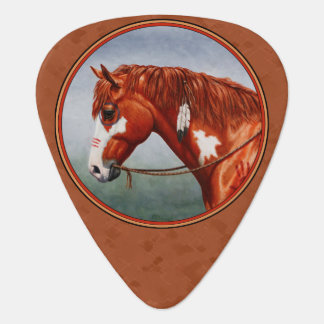 Native American Chestnut Pinto Horse Copper Guitar Pick