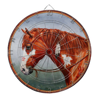 Native American Chestnut Pinto War Horse Dartboard With Darts