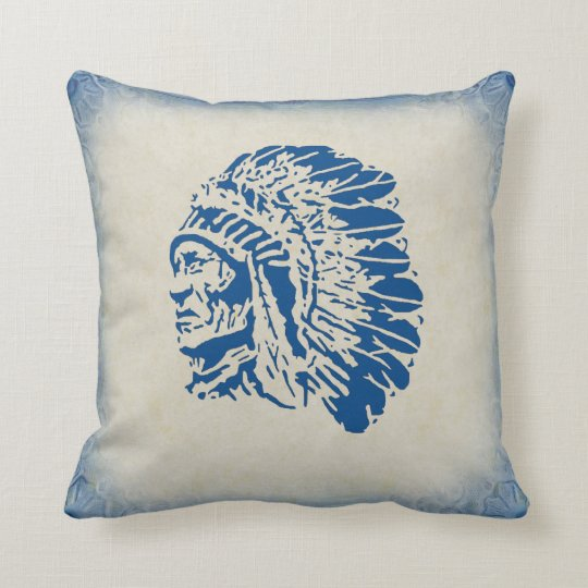 Native American Chief Blue Silhouette Pillow