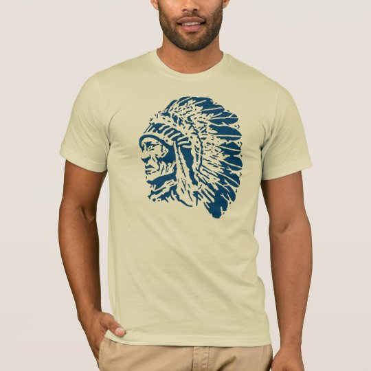 Native American Chief Blue Silhouette T-Shirt