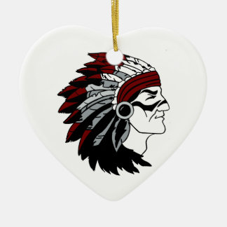 Native American Chief Ceramic Heart Decoration