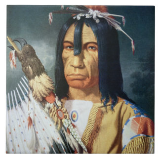 Native American Chief of the Cree people of Canada Large Square Tile