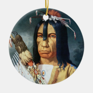 Native American Chief of the Cree people of Canada Round Ceramic Decoration