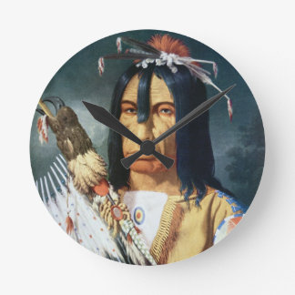 Native American Chief of the Cree people of Canada Wallclocks