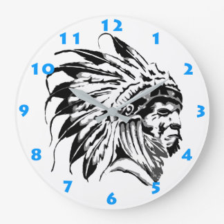 NATIVE AMERICAN CHIEF (WITH NUMERALS) LARGE CLOCK