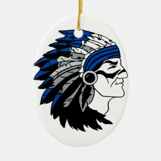 Native American Chief with Red Headress Ceramic Oval Decoration