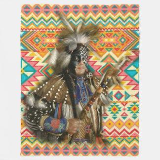 Native American Crow Warrior Fleece Blanket