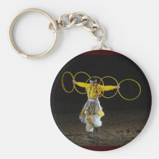 Native American Dance - yellow rings Basic Round Button Key Ring