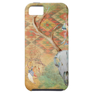 Native American Deer Skull amulet map feathers iPhone 5 Cover