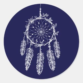 Native American Dream Catcher Navy Blue Tribal Classic Round Sticker