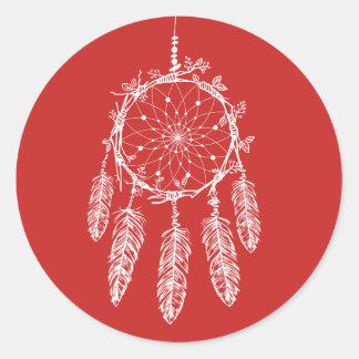 Native American Dream Catcher Red Tribal Classic Round Sticker