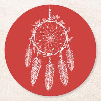 Native American Dream Catcher Red Wedding Round Paper Coaster