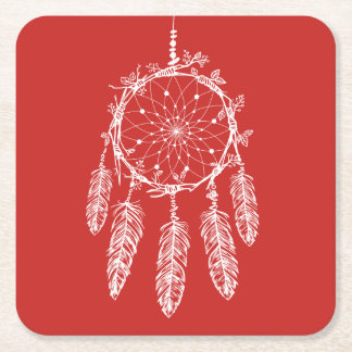 Native American Dream Catcher Red Wedding Square Paper Coaster