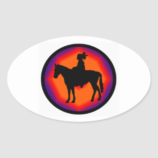 NATIVE AMERICAN EVENING OVAL STICKER