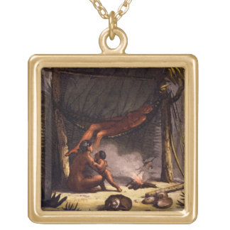 Native American Family under a Leaf Shelter (colou Gold Plated Necklace
