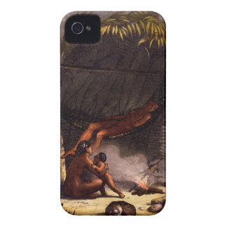 Native American Family under a Leaf Shelter (colou iPhone 4 Case