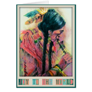 Native American Flute Player Christmas Card