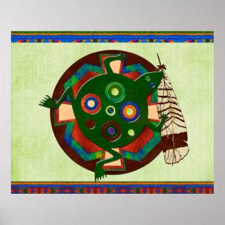 Native American Folk Art Frog Poster