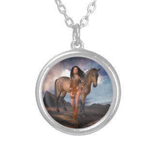 Native American Girl Bay Horse Silver Plated Necklace