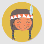 Native American Girl Round Sticker