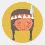 Native American Girl Round Stickers