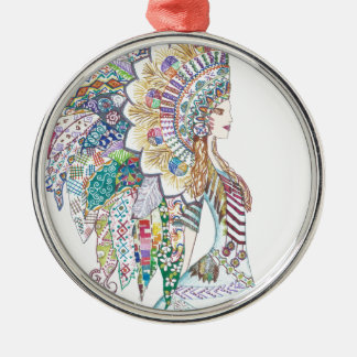 Native American Girl's Headdress Christmas Ornament