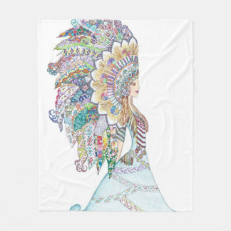 Native American Girl's Headdress Fleece Blanket