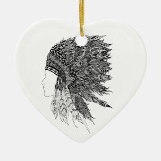Native American headdress Ceramic Heart Decoration