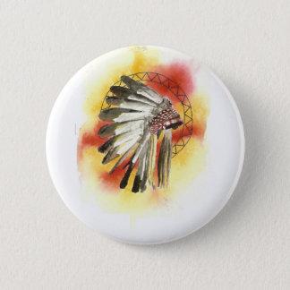 Native American Headresss 6 Cm Round Badge