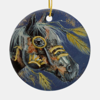 Native American Horse, Every Day Ornament, Horses Round Ceramic Decoration