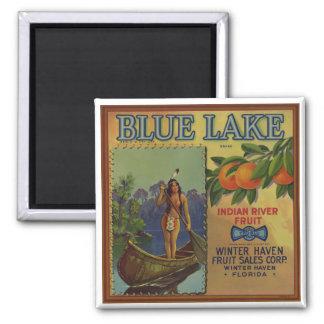 Native American in Canoe Florida Square Magnet