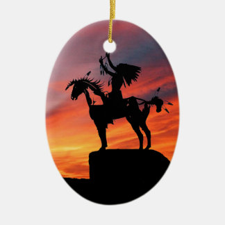 Native American Indian and horse Ceramic Oval Decoration