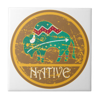 Native American Indian Buffalo Small Square Tile