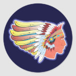 Native American Indian Chief Classic Round Sticker