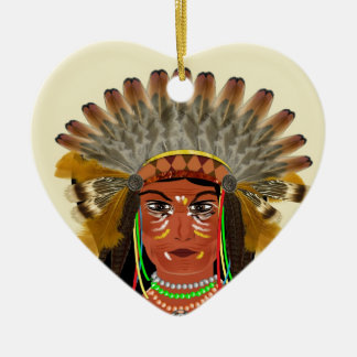 Native American Indian Chief Feather Headdress Christmas Ornament