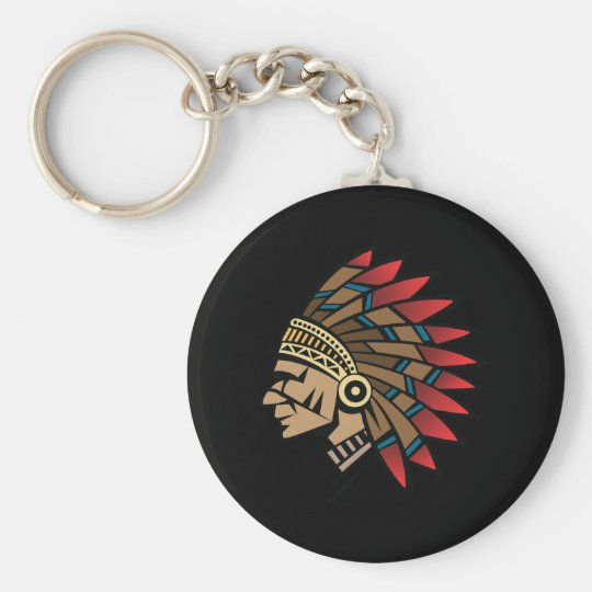 Native American Indian Chief Key Ring
