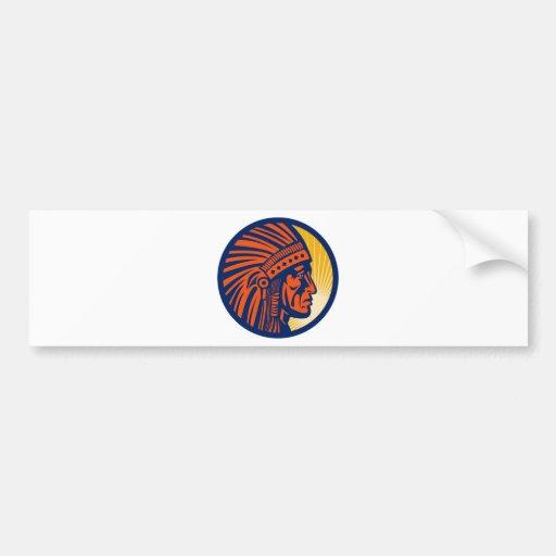 native american indian chief  side view bumper sticker