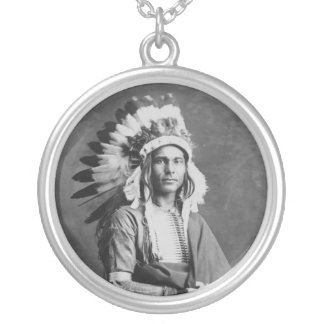 Native American Indian Chief Strong Arm Circa 1909 Round Pendant Necklace