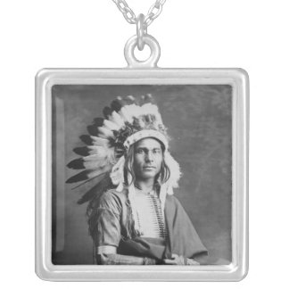 Native American Indian Chief Strong Arm Circa 1909 Square Pendant Necklace