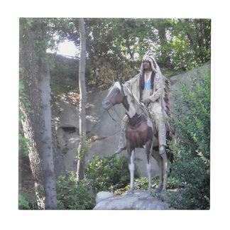 Native American Indian Chief with Horse Small Square Tile