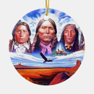 native american indian chiefs christmas ornament
