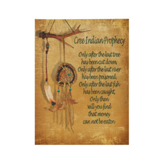 "Native American Indian ""Cree Prophecy"" Wood Poster"