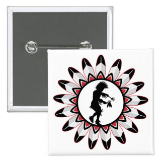 Native American Indian Dance 2 Inch Square Button
