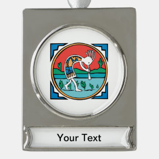 Native American Indian Kokopelli Silver Plated Banner Ornament