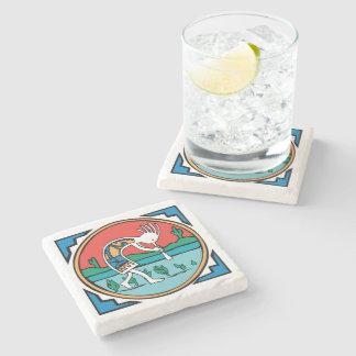 Native American Indian Kokopelli Stone Beverage Coaster