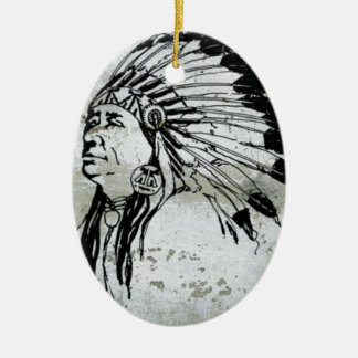 Native American Indian Man Headdress Feathers Christmas Ornament