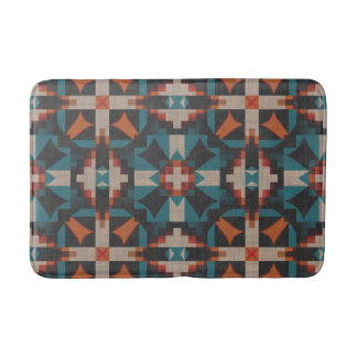 Native American Indian Modern Mosaic Tribe Pattern Bath Mat