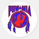 Native American Indian POW-MIA Round Sticker